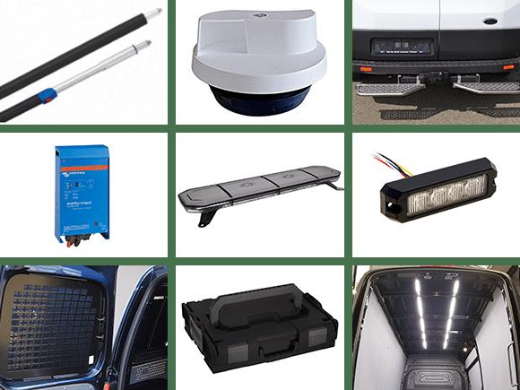 inrichting bestelbus bedrijfswagen accessoires